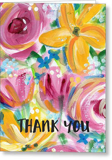 Big Colorful Flowers Thank You Card- Art By Linda Woods Greeting Card by Linda Woods