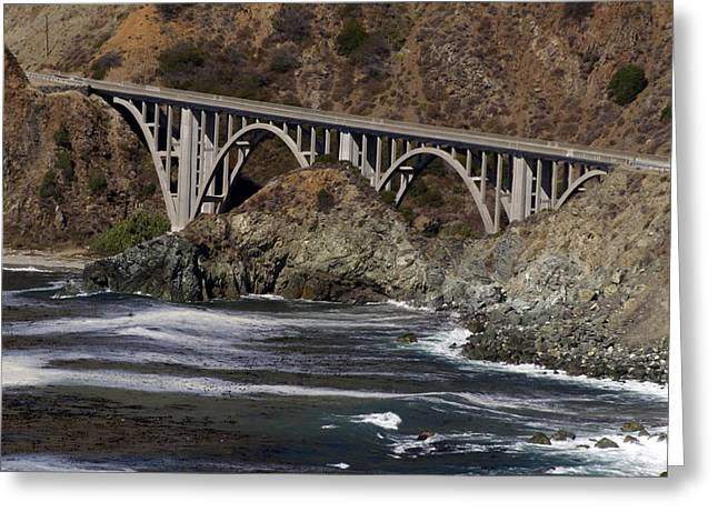 Greeting Card featuring the photograph big creek Bridge by Gary Brandes