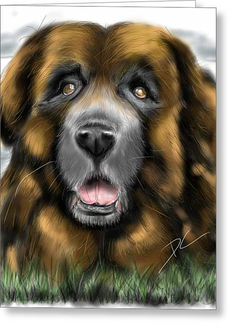 Greeting Card featuring the digital art Big Dog by Darren Cannell