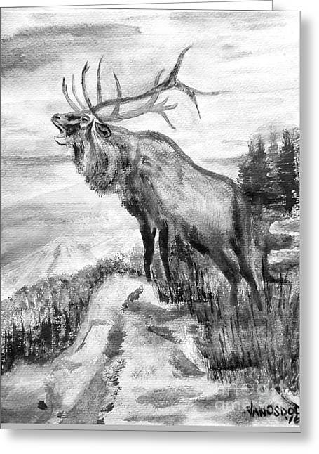 Big Elk Mountain - Black And White Greeting Card