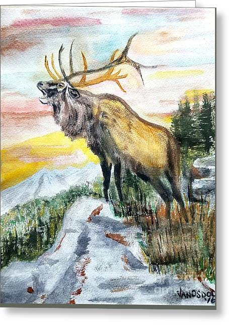 Big Elk Mountain - Original Watercolor Greeting Card by Scott D Van Osdol