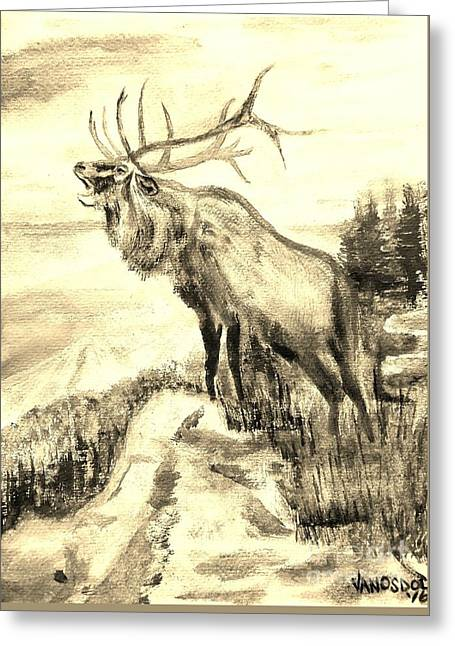 Big Elk Mountain - Sepia Greeting Card