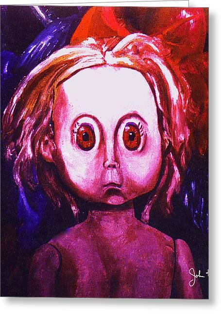 Big Eyed Dolly Greeting Card by John Keaton