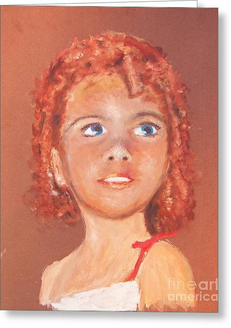 Big Eyed Girl Greeting Card by Miles Mulloy