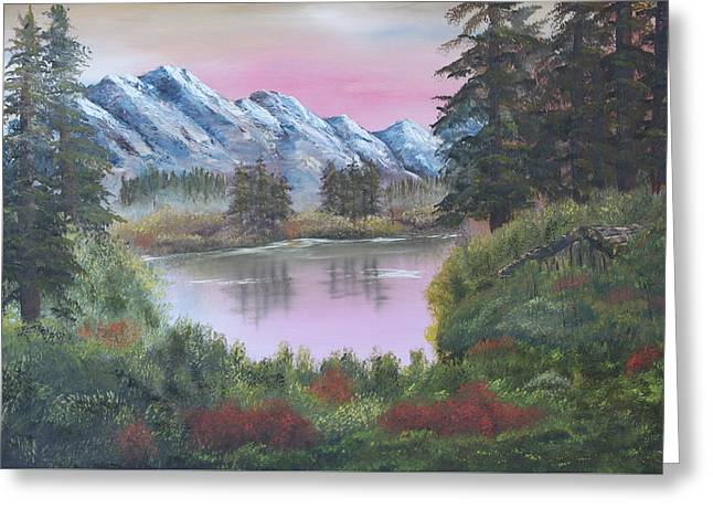 Big Fir Lake Greeting Card by Lou Magoncia
