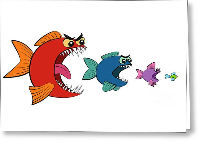 Largest companies greeting cards page 5 of 5 fine art america big fish eating small fish comic greeting card m4hsunfo