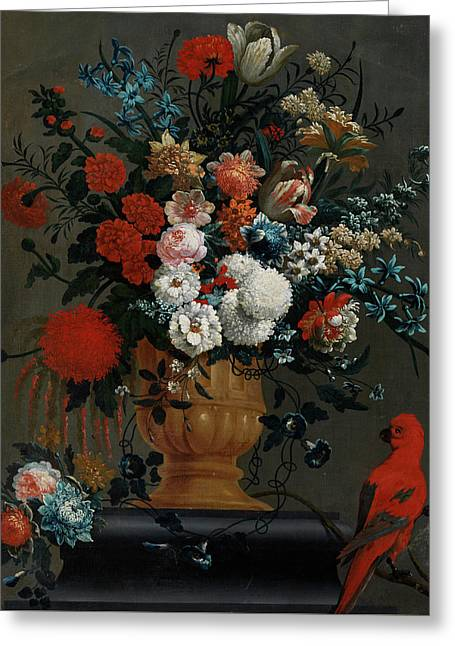 Big Flowers Still Life With Red Parrot Greeting Card by Peter Casteels the Younger
