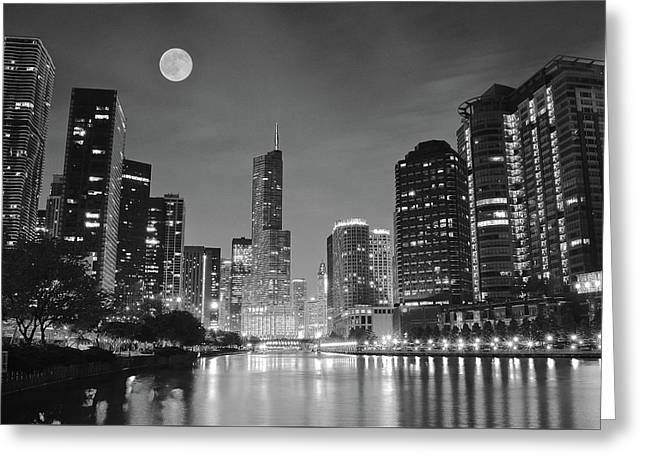 Big Full Chicago Moon  Greeting Card by Frozen in Time Fine Art Photography