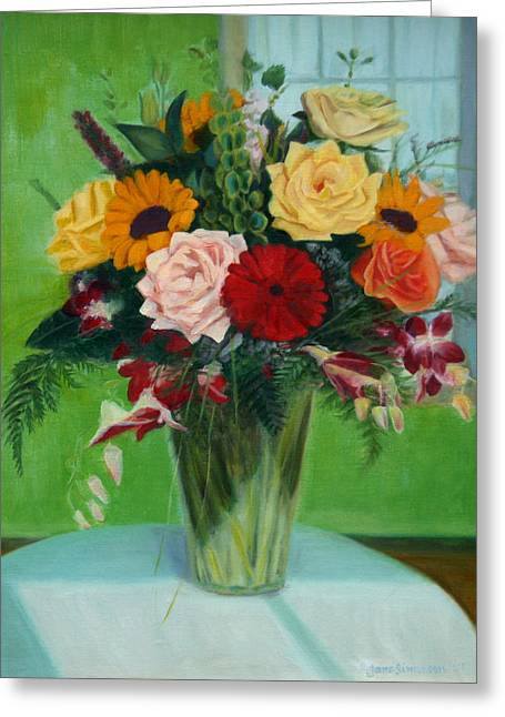 Interior Still Life Paintings Greeting Cards - Big Green Bouquet Greeting Card by Jane  Simonson