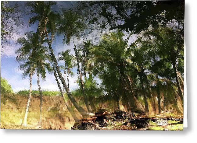 Big Island Reflections Greeting Card by Art Shimamura