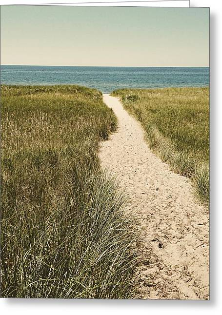 Greeting Card featuring the photograph Big Lake Beach Path by Michelle Calkins