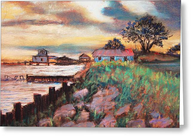 Greeting Card featuring the painting Big Lake Bulkhead by AnnE Dentler