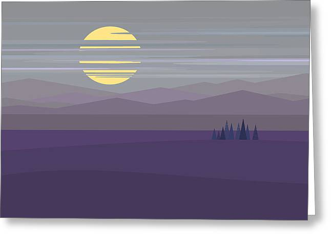 Big Moon At Twilight Greeting Card by Val Arie