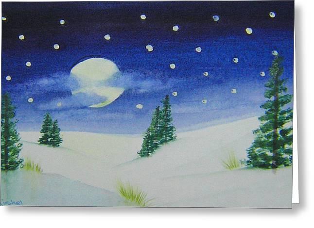 Big Moon Christmas Greeting Card