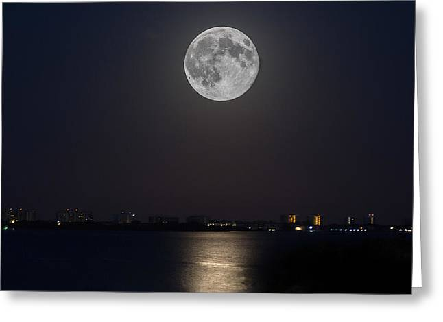 Big Moon Over The Bay Greeting Card