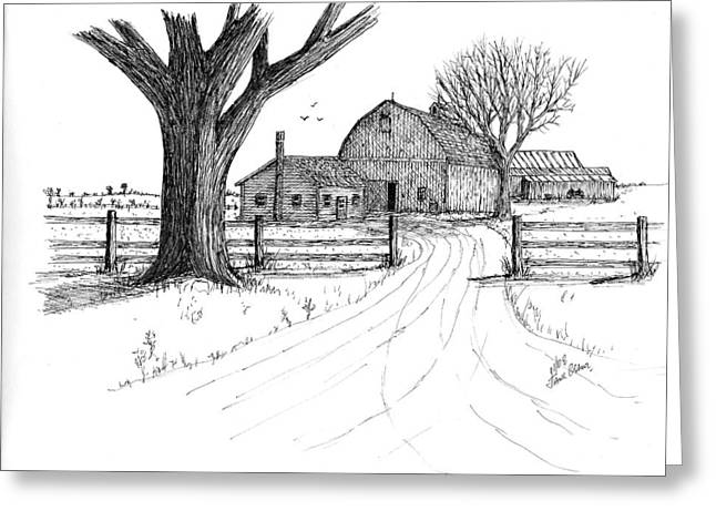 Greeting Card featuring the drawing Big Oak Dairy Farm by Jack G  Brauer