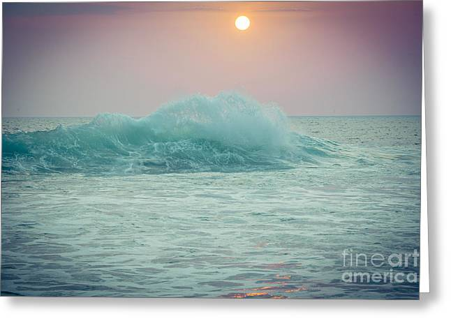 Big Ocean Wave At Sunset With Sun Greeting Card