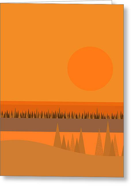 Greeting Card featuring the digital art Big Orange Sun by Val Arie