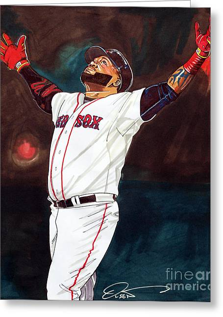 Big Papi David Ortiz Greeting Card by Dave Olsen