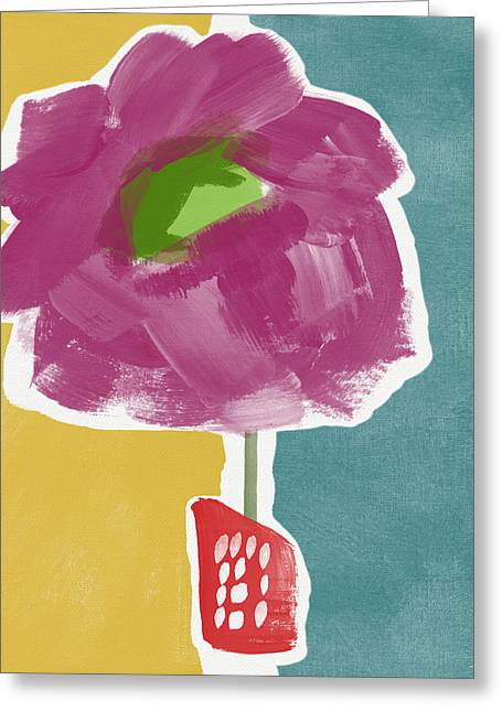 Big Purple Flower In A Small Vase- Art By Linda Woods Greeting Card by Linda Woods