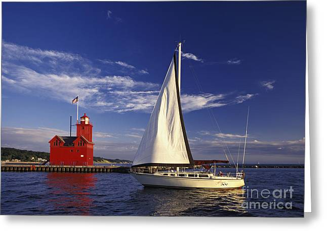 Blue Sailboats Photographs Greeting Cards - Big Red - FM000060 Greeting Card by Daniel Dempster