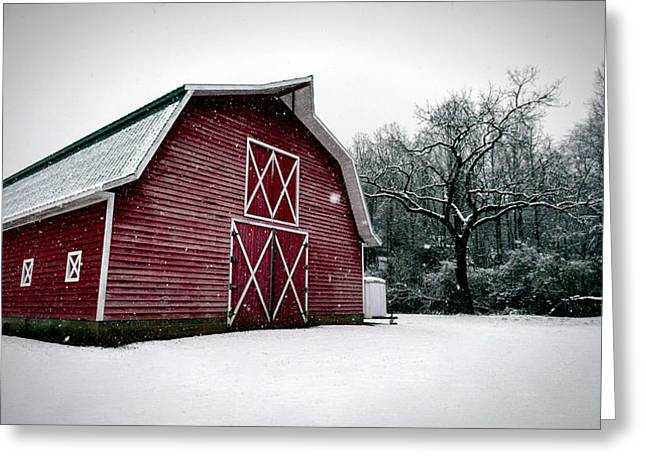 Big Red Barn In Snow Greeting Card