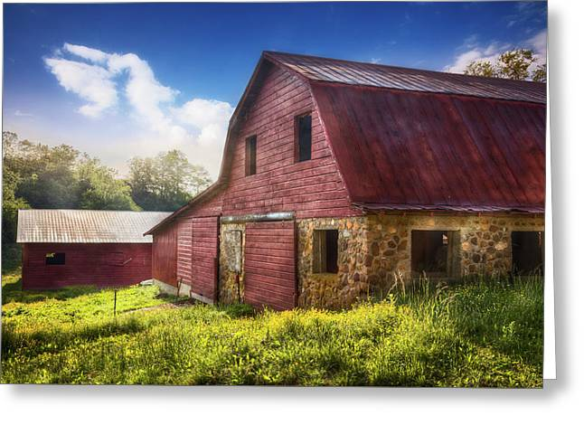 Big Red Barn In The Field Greeting Card