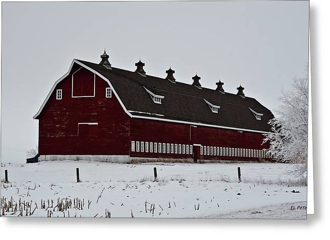 Big Red Barn In The Winter Greeting Card