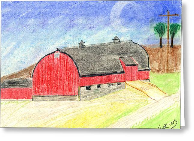 Big Red Barn Greeting Card by John Hoppy Hopkins