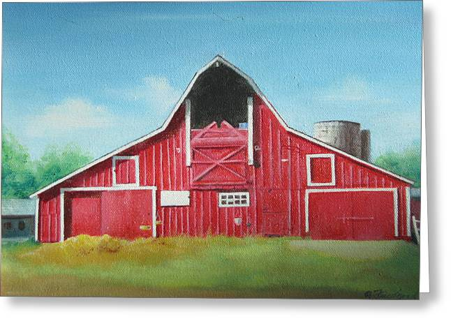 Greeting Card featuring the painting Big Red Barn by Oz Freedgood