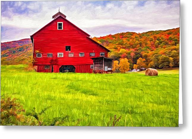 Big Red Barn - Paint Greeting Card by Steve Harrington