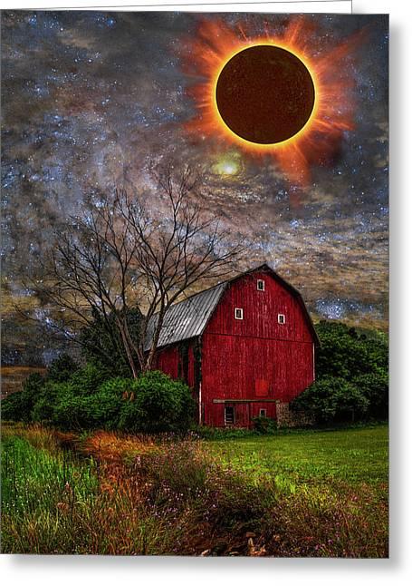 Big Red Barn Under Full Solar Eclipse Greeting Card