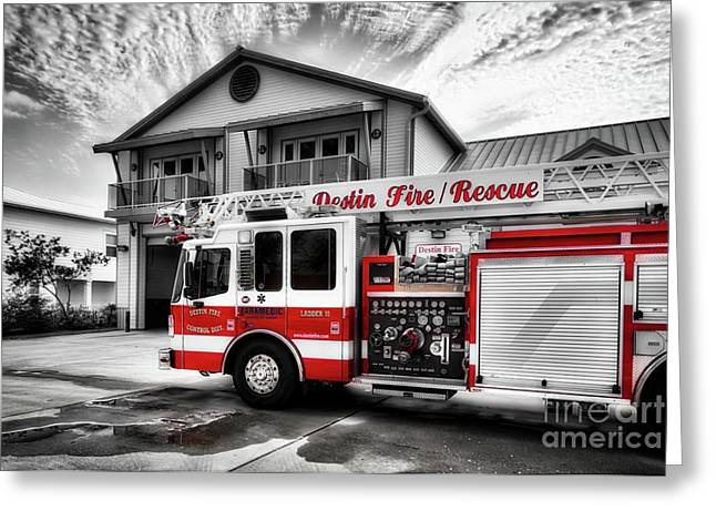 Big Red Fire Truck Greeting Card by Mel Steinhauer
