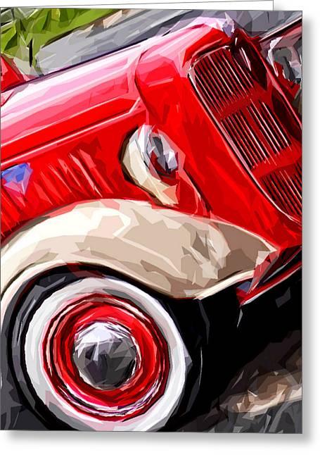 Big Red Truck Greeting Card by Brandi Fitzgerald