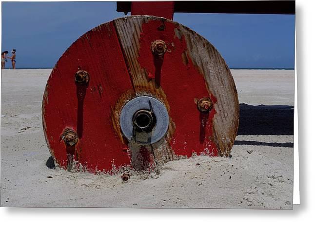 Big Red Wheel On The Beach In Daytona Florida Greeting Card