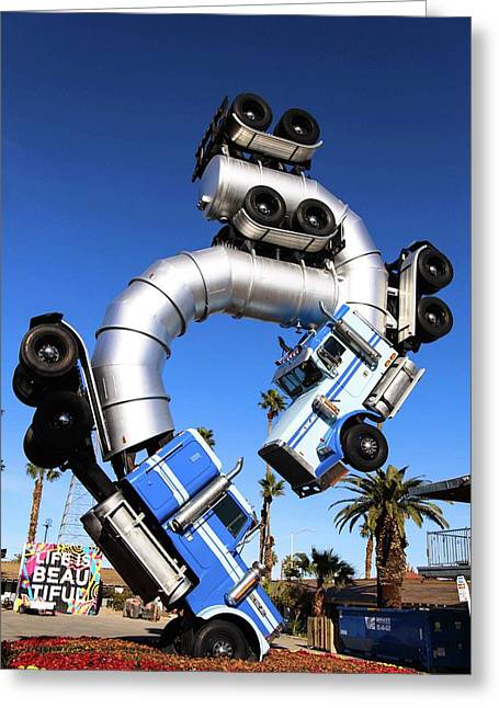 Big Rig Jig Balancing In Vegas Greeting Card