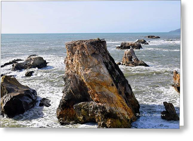 Greeting Card featuring the photograph Big Rocks In Grey Water by Barbara Snyder