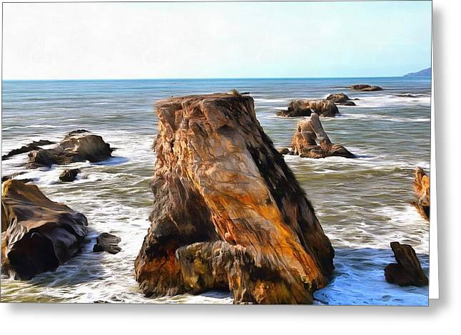 Greeting Card featuring the photograph Big Rocks In Grey Water Painting by Barbara Snyder