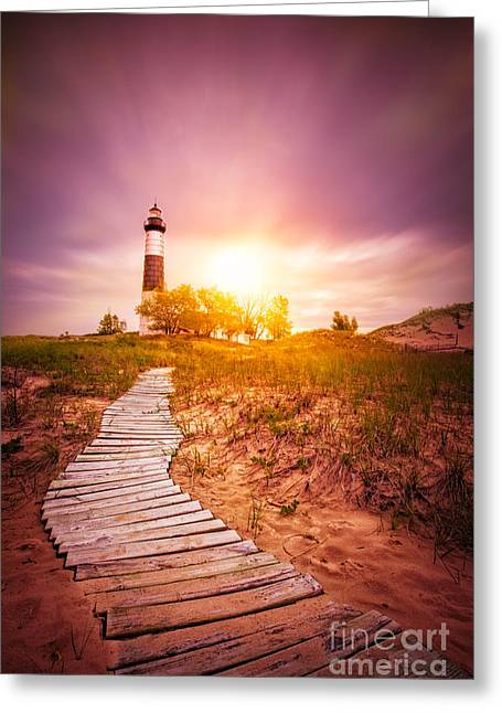 Big Sable Lighthouse Color Greeting Card by Todd Bielby