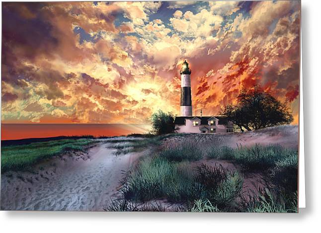 Big Sable Lighthouse Greeting Card by Bekim Art