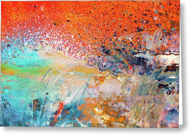 Big Shot - Orange And Blue Colorful Happy Abstract Art Painting Greeting Card