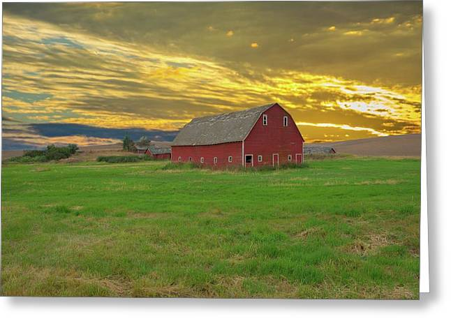 big sky country barn Montana Greeting Card by Randall Branham