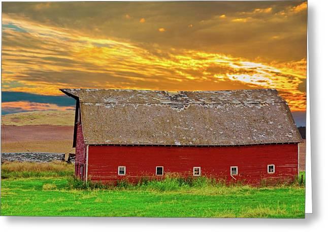 Big Sky Country Barn Greeting Card by Randall Branham