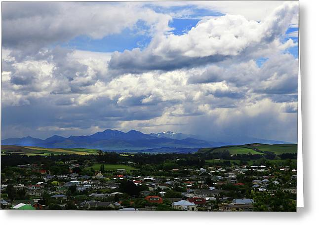 Big Sky Over Oamaru Town Greeting Card
