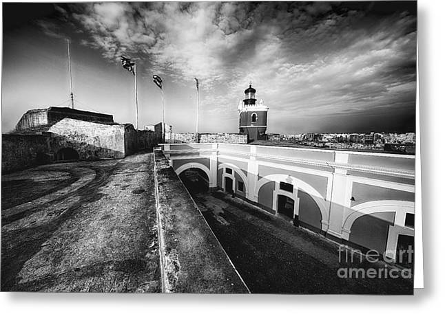 Big Sky Over The El Morro Lighthouse And Fort Courtyard Greeting Card by George Oze