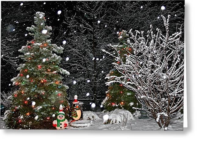 Big Snow Flakes    Holiday Card 6 Greeting Card by Robert Joseph