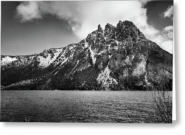 Big Snowy Mountain In Black And White Greeting Card