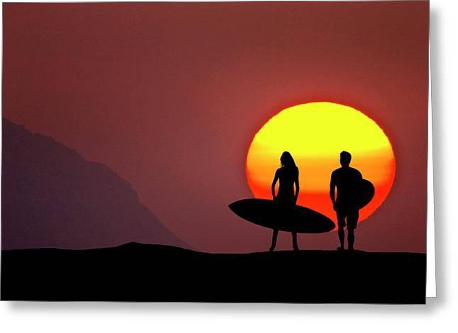 Big Sun Surfers Greeting Card by Sean Davey