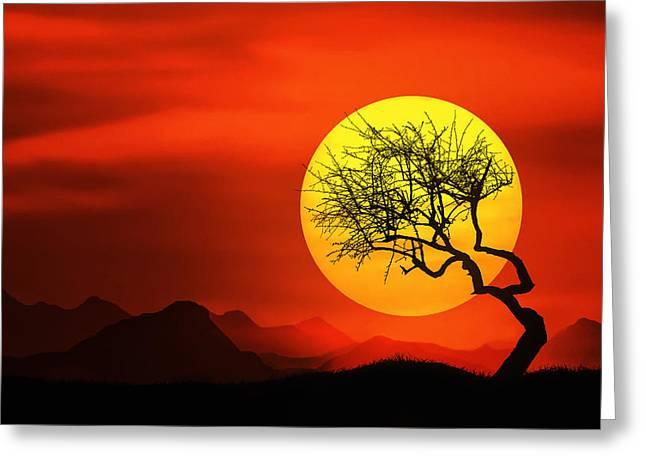 Big Sunset Greeting Card by Bess Hamiti