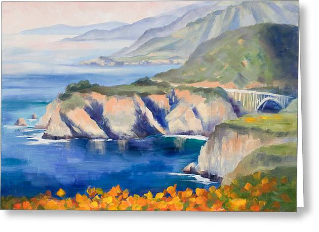 Big Sur Peace Greeting Card by Karin  Leonard